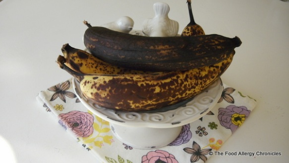 Perfect bananas for baking a Dairy, Egg, Soy and Peanut/Tree Nut Free Banana Bundt Cake