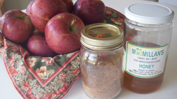 cortland apples picked at Watson's Farm, cinnamon and honey for homemade applesauce