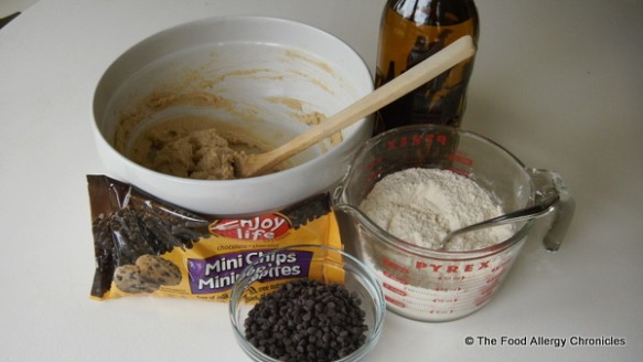 Pure Vanilla, Enjoy Life Chocolate Chips, batter and flour mixture