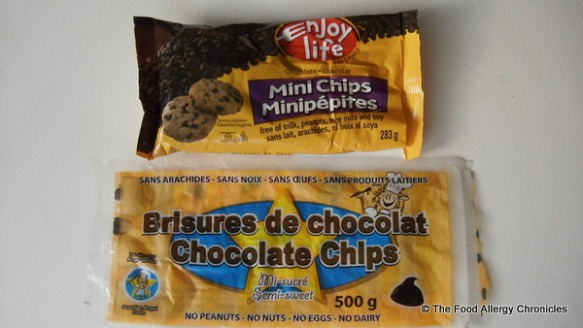 A bag of Enjoy Life and Guardian Angel Chocolate Chips