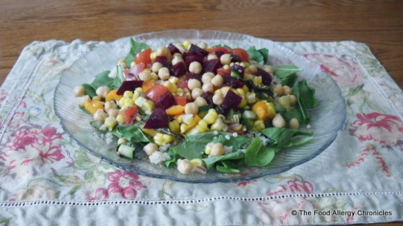 Spinach Corn Salad sprinkled with roasted beets