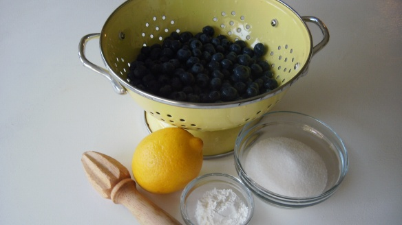 blueberries, lemon, sugar, corn starch for blueberry filling