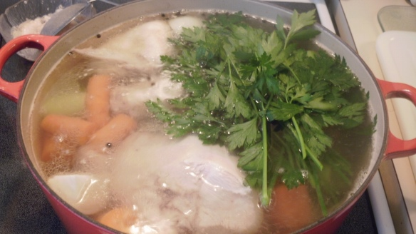 parsely, celery, carrots, onion and black peppercorns added to homemade chicken broth