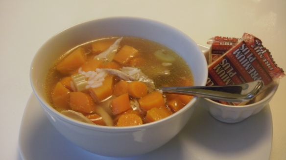 bowl of allergy friendly homemade chicken soup with crackers