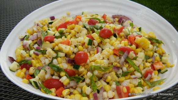 A bowl of fresh corn salad
