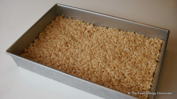 Dairy and Peanut/Tree Nut Free Rice Krispie Squares in a pan