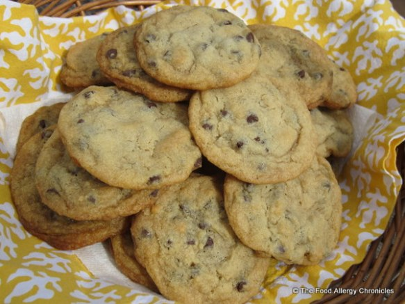 A basket of Dairy, Egg and Peanut/Tree Nut Free Chocolate Chip Cookies