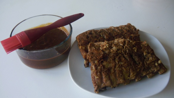 Andy's pork back ribs with Hot and Sticky Barbecue Sauce ready for barbecue