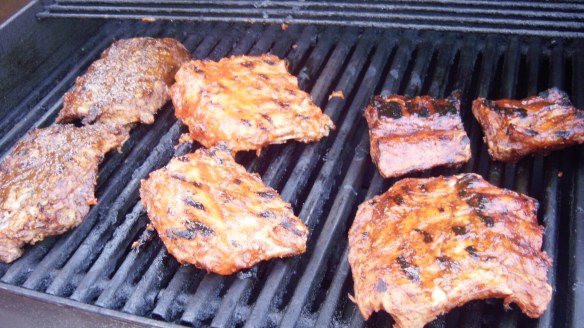 4 types of pork back ribs on barbecue for Allergy Friendly Rib Fest 2011