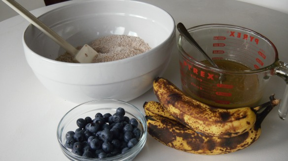 ingredients for dairy and egg free banana blueberry muffins