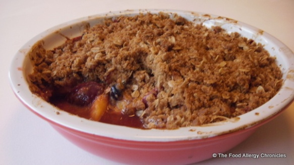Dairy and Peanut/Tree Nut Free Nectarine, Plum and Blueberry Crisp
