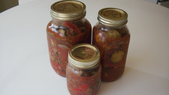 ratatouille in mason jars ready for the freezer