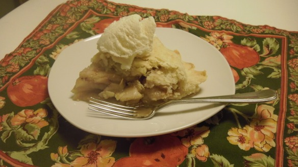 slice of dairy and egg free cortland apple with canola oil crust pie with Natura vanilla frozen dessert