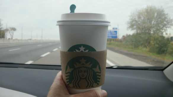 my soy latte from starbucks for the ride to the walk to axe anaphylaxis