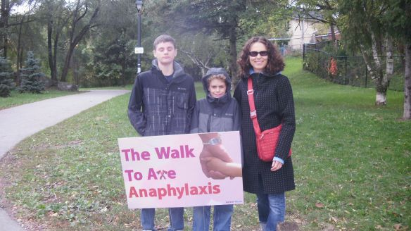 my boys and I at entrance for walk to axe anaphylaxis, oct 16,2011