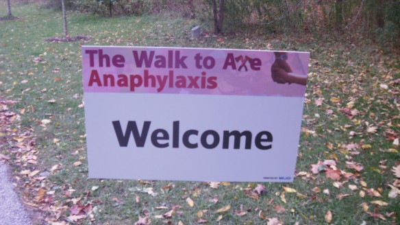 welcome sign for oct 16,2011 walk to axe anaphylaxis