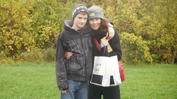 Michael and I at walk to axe anaphylaxis oct 16,2011