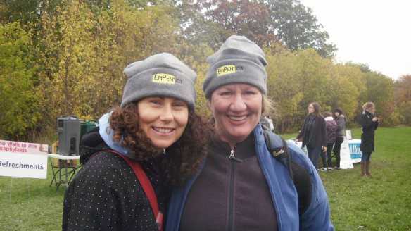 myself and sara shannon, mother of sabrina shannon at walk to axe anaphylaxis oct 16 2011