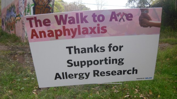 sign of thanks on walk to axe anaphylaxis, oct 16 2011
