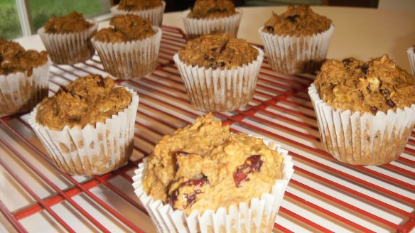dairy, egg, soy, peanut/tree nut free oatmeal pumpkin muffins cooling on cooling rack