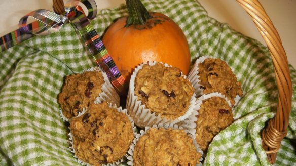 dairy, egg, soy peanut/tree nut free pumpkin oatmeal muffins in a basket