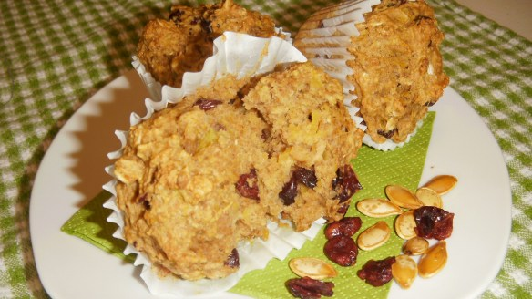 dairy, egg, soy, peanut/tree nut free oatmeal pumpkin muffins on a plate