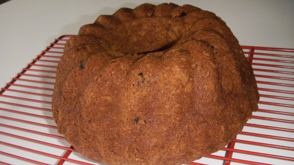 dairy, egg,soy and peanut/tree nut free pumpkin bundt cake cooling on rack