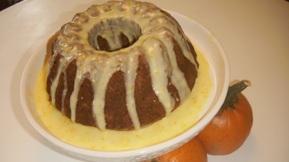 dariy, egg, soy,peanut/tree nut free pumpkin bundt cake with orange drizzle