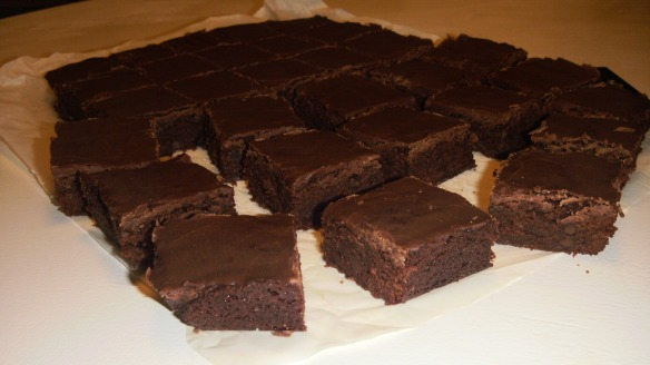 dairy, egg and soy free chocolate brownies being cut up into squares