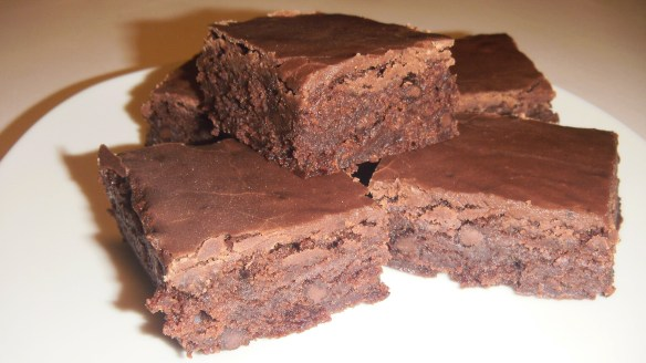 dairy,egg and soy free chocolate brownies on a plate