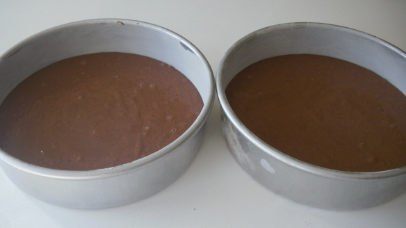 dairy, egg and soy free chocolate cake batter in cake pans