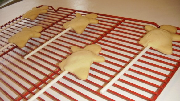 dairy, egg and peanut/tree nut free ghost cookies cooling on rack