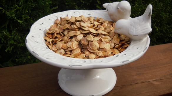 roasted pumpkin and squash seeds in a dish