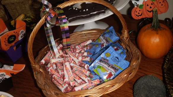 rockets and yummy earth gummy bears in individual packets for hallowe'en party