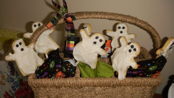 dairy, egg and peanut/tree nut free sugar ghost cookies on a stick