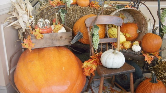 pumpkins, leaves and corn for a fall setting