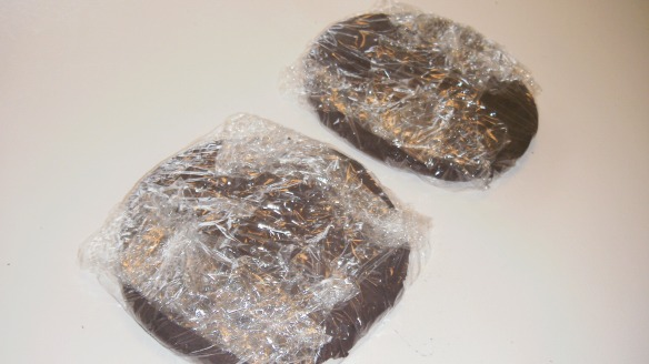 2 disks of dairy,egg and peanut/tree nut free chocolate cookie dough wrapped in plastic