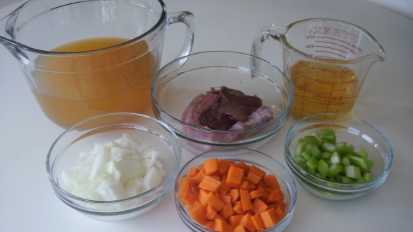 vegetable broth, white wine, chopped onion, carrots and celery and neck and giblets from turkey for stock for gravy