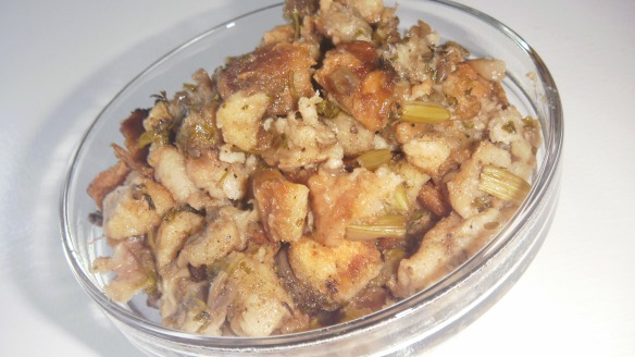dairy free turkey stuffing in a bowl