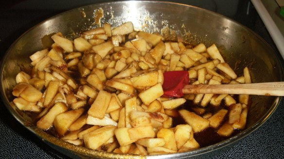 chopped cinnamon apples in caramel sauce