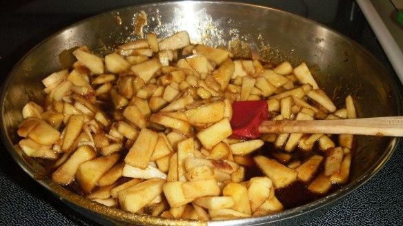 chopped cinnamon apples in caramel sauce