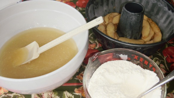 wet ingredients,dry ingredients and bundt pan with caramel and apple layer