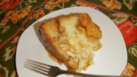 slice of dairy,egg, peanut/tree nut free apple bundt cake