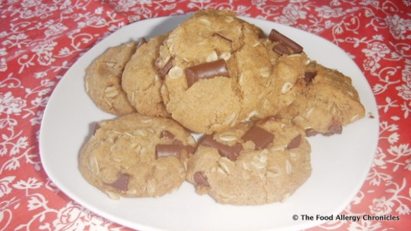 dairy,egg,peanut/tree nut free oatmea lchocolate chunk cookies