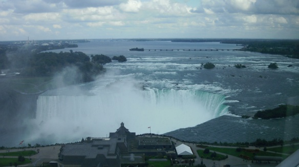 view of Niagara Falls from hotel window