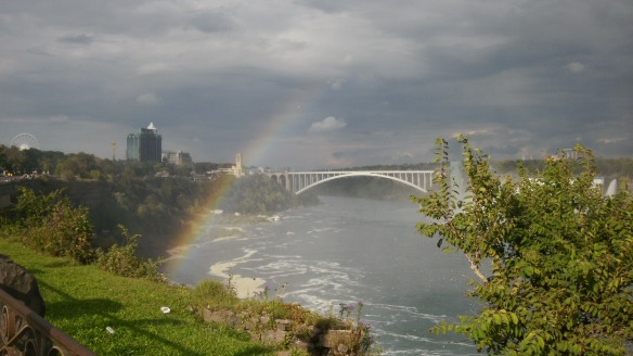 rainbow bridge, niagara falls with rainbow