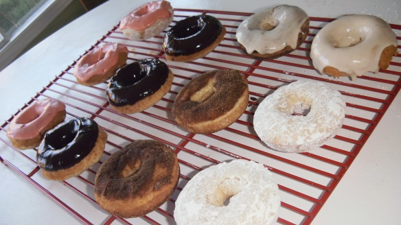 strawberry, chocolate,maple glazed and cinnamon sugar and powdered sugar dairy,egg,soy,peanut/tree nut free doughnuts