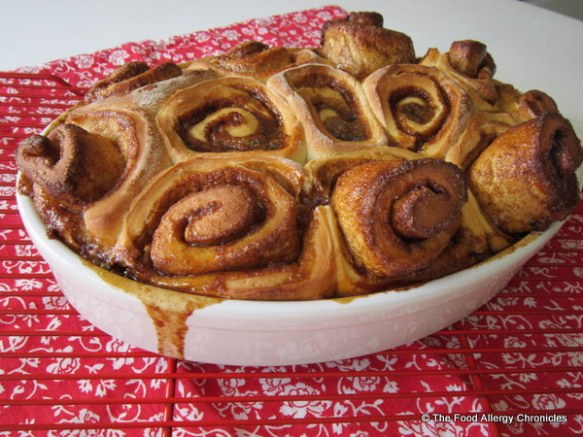 dairy,egg,soy and peanut/tree nut free cinnamon buns cooling