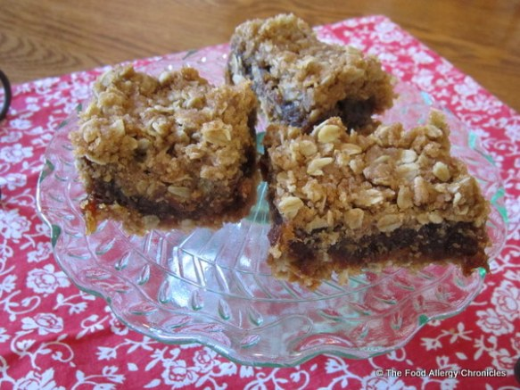 dairy, egg, soy and peanut/tree nut free date squares on a cake plate