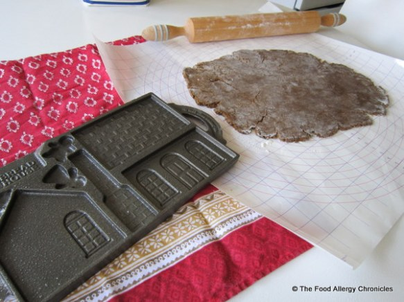 rolled out dairy, egg and peanut/tree nut free gingerbread dough for gingerbread mold from Lee Valley